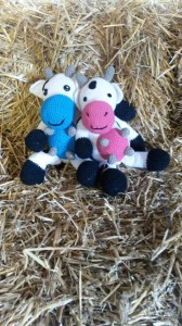 blauw en roze koe